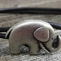 "Black Leather Bracelet w/Elephant - 6"" to 6.5"" Wrist Size"