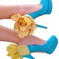 Heel Condom-Yellow Suade Flower