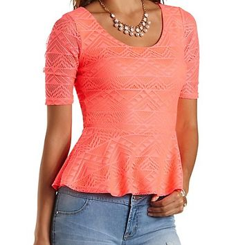 Neon Lace Peplum Top by Charlotte Russe - Neon Coral