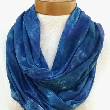 Wide Bamboo Cotton Infinity Scarf, Dark Cerulean Blue, Hand Dyed, Neck Wrap