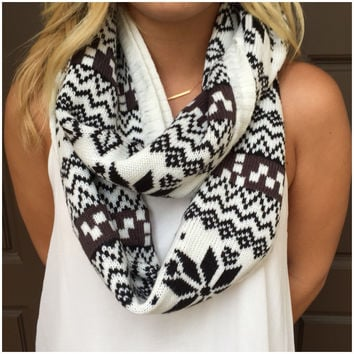 Snowflake Love Thick Knit Infinity Scarf - Snowflake Love Thick Knit Infinity Scarf