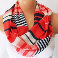 Infinity Scarf Loop Scarf Circle Scarf Cowl Scarf Soft and Lightweight Red White Blue Striped