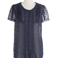 ModCloth Mid-length Short Sleeves Everyday Elegant Top in Blue
