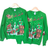Matching Ugly Christmas Sweater Style Sweatshirts – L & XL