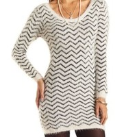 Fuzzy Chevron Sweater Dress by Charlotte Russe - Ivory Combo