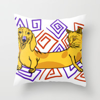 CatDog Throw Pillow by FranklePirate