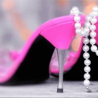 Feminine Photography, Still Life Photography, Heels and Pearls Print, Hot Pink, Magenta, Grey, Delicate, Dreamy, 4x6 Print