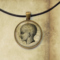 Head anatomy pendant Macabre jewelry Gothic necklace