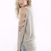 Ivory Long Sleeve Knit with Cutout Sleeves&amp;High-Low Hemline