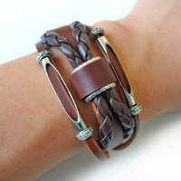 Jewelry bangle leather bracelet men bracelet women bracelet buckle bracelet made of leather and metal wrist bracelet  SH-1496