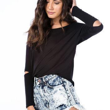 Rubbing Elbows Slit Sleeve High-Low Top