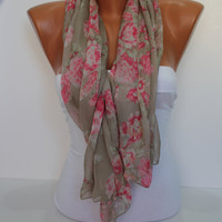 Soft Chiffon Rose Shawl/Scarf