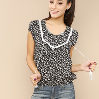 White/Black Paisley Print Top With Elastic Hem