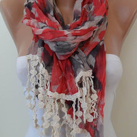 Red and Grey Scarf - with Beige Trim Edge ---New Collection
