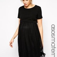 ASOS Maternity   ASOS Maternity Exclusive Shell Top Dress with Stripe Lace Skirt at ASOS