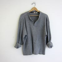 vintage long sleeve gray plaid top. button front henley. thermal shirt