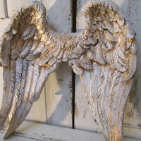 Angel wings wall decor shabby cottage inspired distressed white with accents of gold decorative home decor anita spero