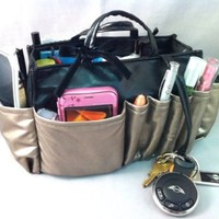 "3-6 Days Delivery- Jolie Pewter and Black Handbag Organizer Travel Cosmetic Make-Up Tote Bag Very Lightweight Insert Dimensions: L 7.5""x H 6""x W 3.5"""