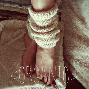 Organic Wool Leg Warmers -  Hipster Boot Cuffs - Made to Order - Rustic Clothing - Boho Hippie Leg Warmers