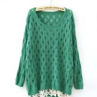 Green Hollow Sweat Sweater$42.00