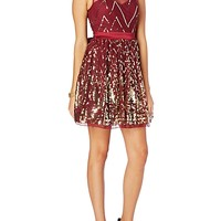Chevron Sequined Illusion Party Dress