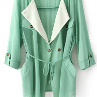 Green Chiffon Drape Collar Pockets Roll Sleeve Tie Front Coat - Sheinside.com