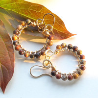 Fall hoop earrings - gold wire wrapped brass with stone beads