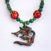 Beaded Amber and Jade Om Necklace
