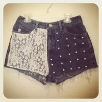 Floral lace pearl High Waisted Shorts 28 inches