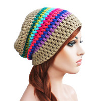 Crochet Slouch Rainbow and Beige- Ultimate Slacker Striped Beanie Hat