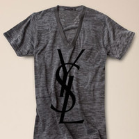 YSL Logo Womens Burnout Gray T-Shirt Medium