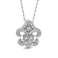 TEENYTINY® Diamond Accent Fleur-de-Lis Pendant in Sterling Silver - 17