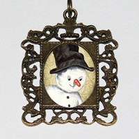 Snowman Necklace, Christmas Jewelry, Winter, Rectangle Pendant