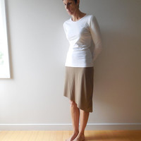 Cocoa Brown T Shirt Skirt / Asymmetrical / Recycled / Upcycled / Winter / Straight / Cotton / Handmade / Soft / Fashion / ohzie