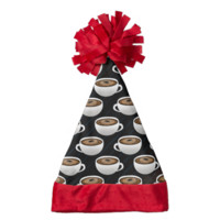 Coffee Cups and Stripes Santa Hat