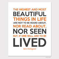 Quote Wall Art Print Home Room Decor Soren Kierkegaard Text Saying The Highest and Most Beautiful Things In Life Orange Brown ofcarola 8x10""