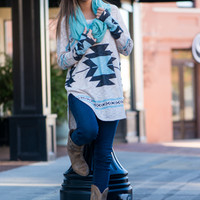 Tribal Target Top, Cream/Black