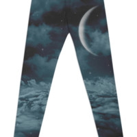Uncertain. Alone. Cratered by imperfections. (Loyal Moon) Leggings created by soaringanchordesigns | Print All Over Me