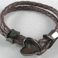Brown Leather Woven with Metal Heart Buckle Women Leather Jewelry Bangle Cuff Bracelet  SL0097