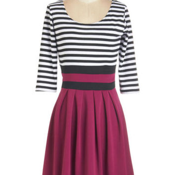 ModCloth Mid-length 3 Twofer Literary Luncheon Dress in Berry