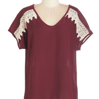 ModCloth Mid-length Short Sleeves High-Low Hem Chic Up the Good Work Top