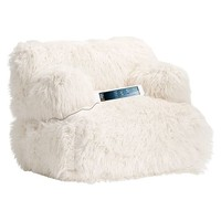 Ivory Furlicious Faux Fur Eco Lounger Speaker Media Chair