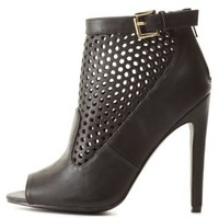 Cut-Out Peep Toe Booties by Charlotte Russe - Black