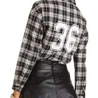 Numbered Plaid Flannel Shirt by Charlotte Russe - Black Combo