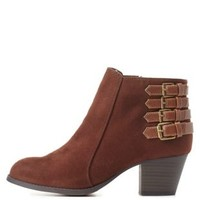 City Classified Belted Ankle Booties by Charlotte Russe - Brown