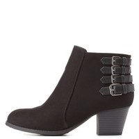 City Classified Belted Ankle Booties by Charlotte Russe - Black