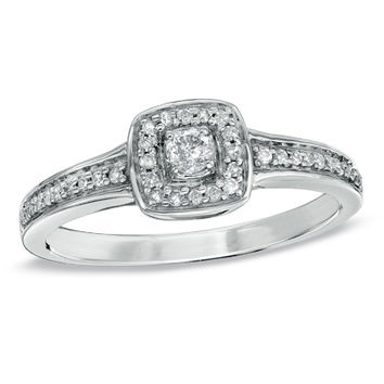 1/5 CT. T.W. Diamond Square Frame Vintage-Style Promise Ring in 10K White Gold - Size 7