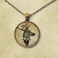 Deer pendant Stag necklace Animal jewelry Steampunk style