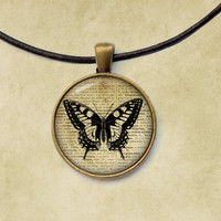 Butterfly pendant Insect necklace Antique jewelry Steampunk style