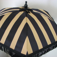 VICTORIAN PARASOL in Elegant Black and Gold Stripe Fabric with Black Fringe